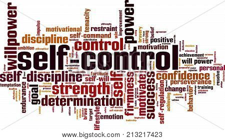 Self-control word cloud concept. Vector illustration on white