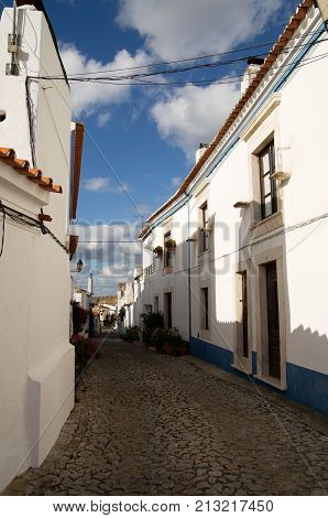 Typical Narrow Street Of Terena Village Leading To Castle