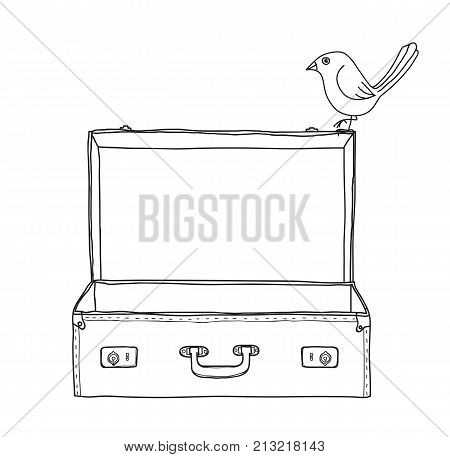 Brown Suitcase vintage empty suitcase and cute bird hand drawn vector line art illustration