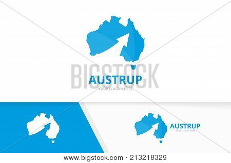 Vector australia and arrow up logo combination. Oceania and growth symbol or icon. Unique continent and upload logotype design template