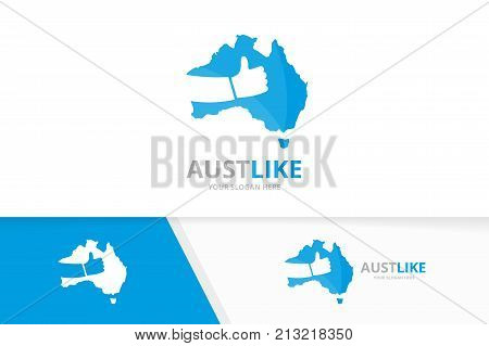Vector of australia and like logo combination. Oceania and best symbol or icon. Unique continent and choice logotype design template.