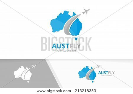 Vector of australia and plane logo combination. Oceania and travel symbol or icon. Unique continent and flight logotype design template.