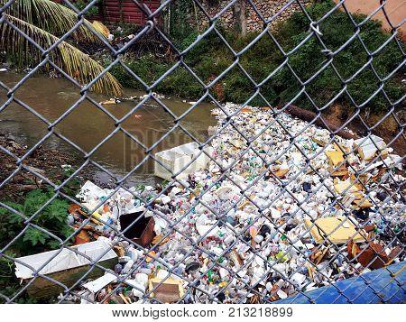 Polluted stream in Santo Domingo, Dominican Republic