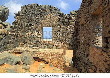 Bushiribana Gold Smelter ruins. North coast, Aruba Island, tourism, historic