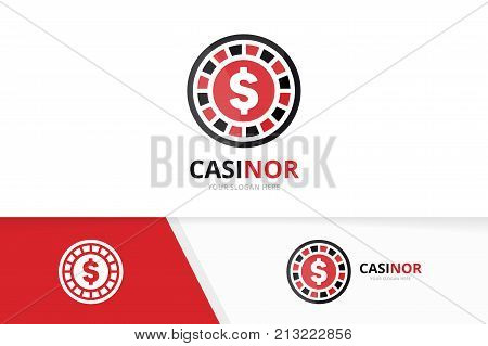 Vector casino logo combination. Chip and game symbol or icon. Unique roulette and poker logotype design template.