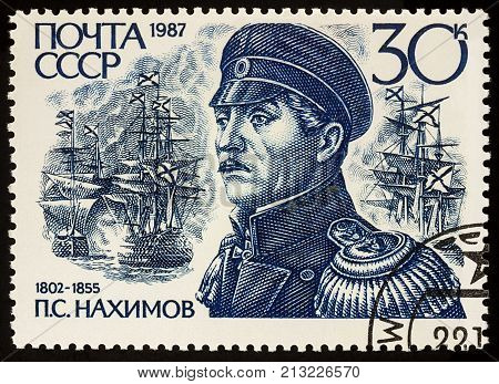 Moscow Russia - November 09 2017: A stamp printed in USSR (Russia) shows portrait of admiral Pavel Stepanovich Nakhimov (1802-1855) series