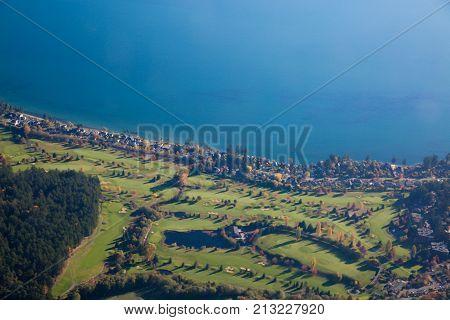 Golf fields Victoria Vancouver Island British Columbia Canada November 2017