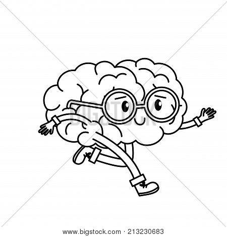 Brain cartoon of Mental health theme Isolated design Vector illustration