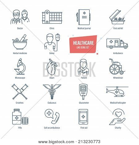 Healthcare thin line icons, pictogram and symbol set. Icons for medical services, ambulance, pharmacology, outpatient treatment. Healthcare system, medical diagnostic equipment. Vector illustration.