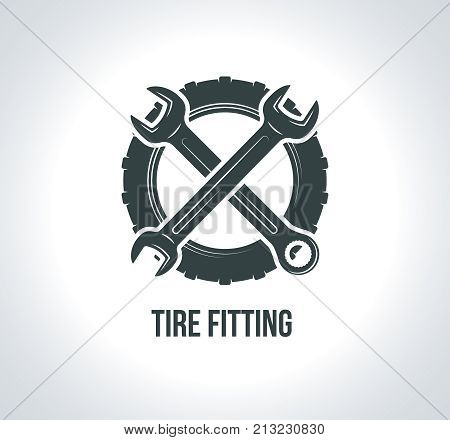 Tire fitting logo concept. Black tire logo icon. Icon for service auto with tire drawing, wrench, wheel, badges for tire service or car repair. Vector illustration for emblems, labels, logo, logotype.