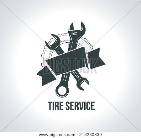 Black tire service logo icon. Icon for tire service with tire drawing, wrench, scheme sketch wheel, badges for tire service or car repair. Vector illustration for emblems emblems, labels, logotype.