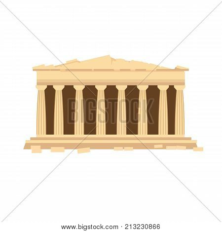 Architectural building. Countries of the world, architecture, monuments, landmark. Monument of ancient architecture, the Greek temple of the Parthenon of Athens. Vector illustration.