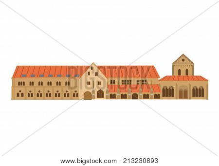 Architectural building. Countries of the world, architecture, monuments, landmark. Medieval historical monastery complex Maulbronn in the south-west of Germany. Vector illustration.