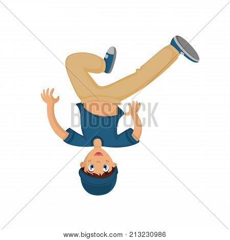People dancing character in different poses concept. Energetic young guy, teenager, dancing break dance on head, having fun, under modern music. Cartoon vector illustration isolated