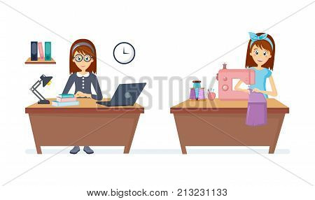 Cartoon character woman. Homemaker, housewife woman engaged of housework. Affairs housewife knits and sews sitting at table at sewing machine things, working on notebook in room. Vector illustration.