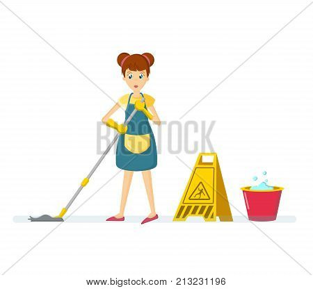 Cartoon character woman. Homemaker, housewife engaged of housework. Affairs woman housewife washes the floor, mop at home in the room. Vector illustration isolated in cartoon style.