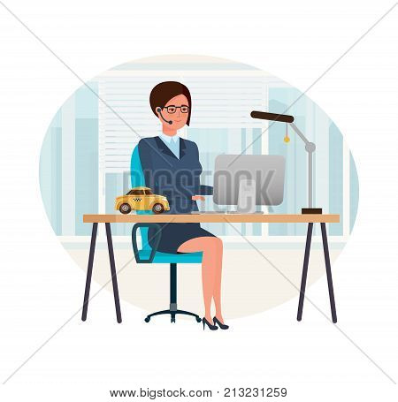 Taxi order service. Girl operator, employee of company, clerk, takes orders, advises and services clients. Technical support, work in office, online service. Illustration character cartoon person.