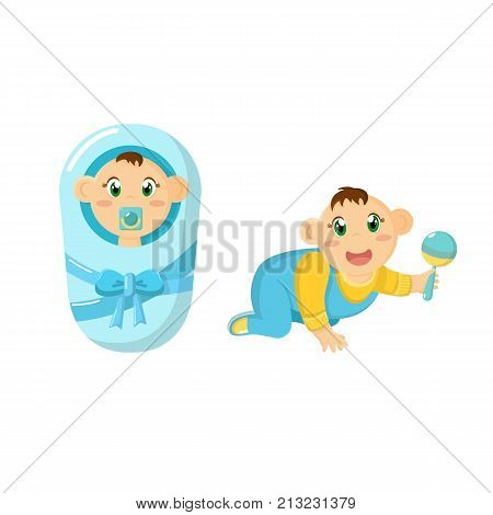 Newborn baby, children, in diaper with pacifier, child crawling with rattle in hand. Cute little baby. Playing, lying, crawling baby. Happy smiling newborn kid. Illustration character cartoon person.