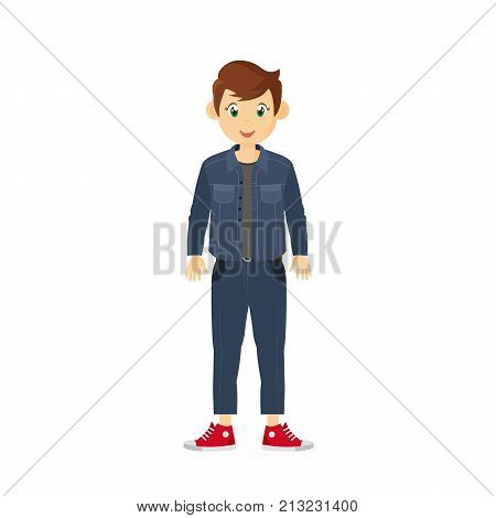 Modern fashion and style, fashionable guy. Young guy in beautiful, casual clothes, spends weekdays, is engaged in self-development, perfection, develops. Vector illustration character cartoon person.