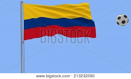 Realistic fluttering flag of Colombia and soccer ball flying around on a blue background 3d rendering