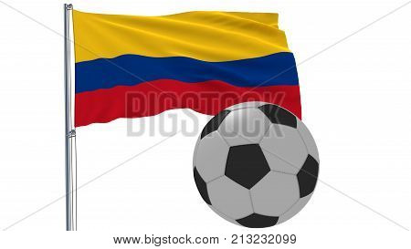 Realistic fluttering flag of Colombia and soccer ball flying around on a white background 3d rendering