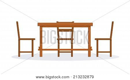 Set of wooden furniture. Picnic furniture, chair and table. Classic and modern tables and chairs furniture for office, cafe, restoran, home kitchen interior scene design. Vector illustration isolated.