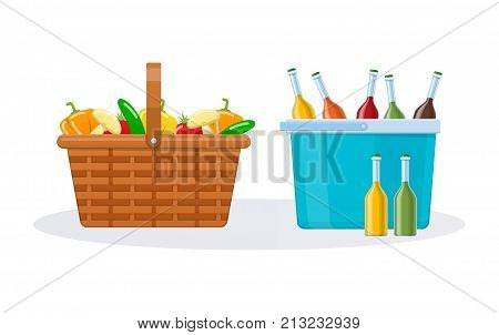 Beautiful wicker basket with fresh vegetables for cooking, plastic basket with drink, sauce to eat. Weekend, rest, delicious food, picnic, breakfast in open air, meal for holiday. Vector illustration.