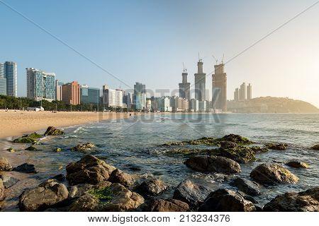 View of Haeundae beach. Haeundae beach is Busan's most popular beach in South Korea.