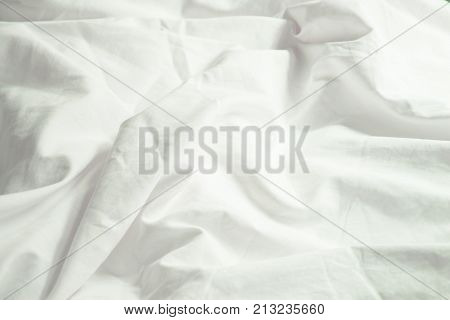White Pillow On Bed And With Wrinkle Messy Blanket In Bedroom From Sleeping In A Long Night Winter.