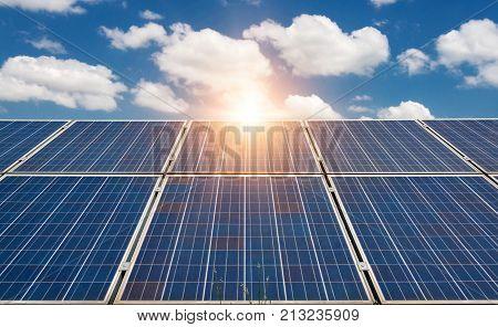 Solar panels photovoltaic - alternative electricity source - selective focus copy space