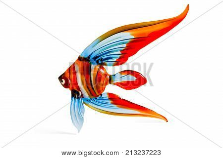 Colorful fish souvenir glass on white background, close-up