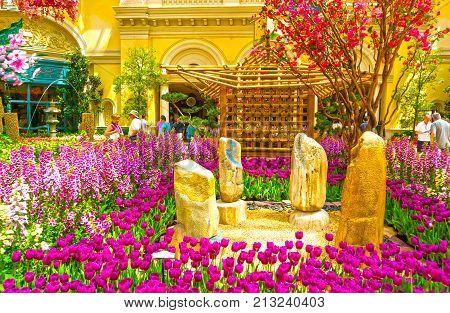 Las Vegas, United States of America - May 05, 2016: The Japanese flowering garden at luxury hotel Bellagio at Las Vegas, United States of America