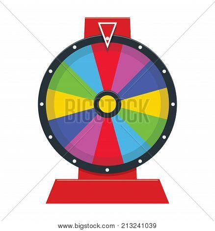 vector fortune wheel illustration with no numbers. casino game fortune roulette isolated on white background. flat graphic of colorful spinning lottery wheel. eps10