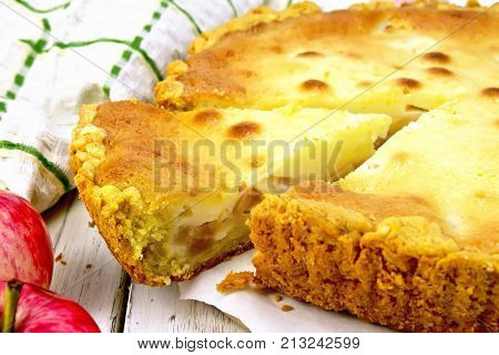 Pie Apple With Sour Cream On Board