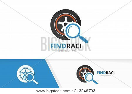 Vector wheel and loupe logo combination. Tire and magnifying symbol or icon. Unique tyre and search logotype design template.