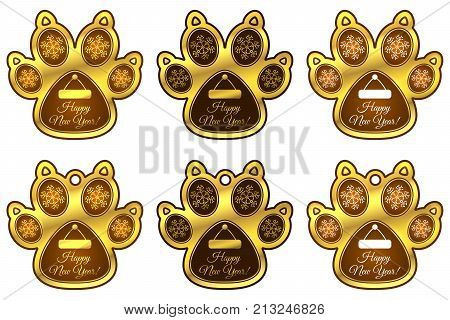 New Year Hanging Toy Of Dog Paw. Set Of Stickers