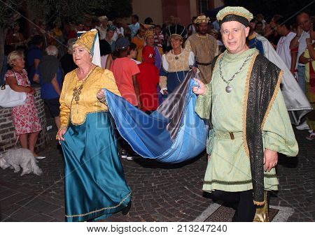 Finale Ligure Italy - August 25 2017: Journey to the Middle Ages, Medieval Reconnaissance within the Borgo Antico of Finale Ligure: For three days, once a year, the village returns back in time.