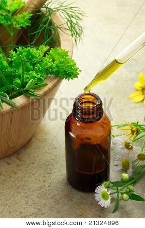 Herbal medicine with dropper bottle