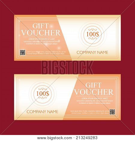 gift voucher 100 dollars two flat design text labels business concept vector