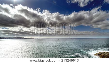 Panoramic View Of The Entrance Of The Bay Of La Coruna On The Coast Of Galicia (spain). Sky With Clo