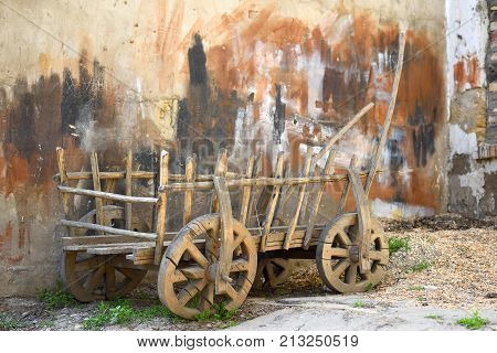 The cart for agricultural work.Used in the pre-automotive times vehicile.Ecologically clean.They are made of wood and the iron details.The remaining force was horsesdonkeysbuffaloes.
