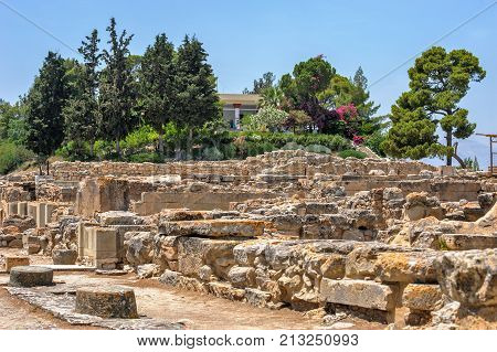 Phaistos palace archaeological site on Crete Greece
