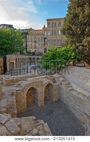 Old town in center of Baku city Azerbaijan