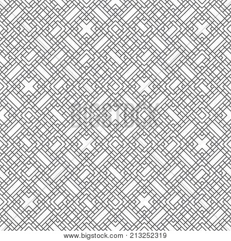 Vector seamless pattern. Trendy geometric texture. Modern linear ornament. Regularly repeating thin lines which form tangled intricate labyrinth maze with rectangle shapes crosses rhombuses.