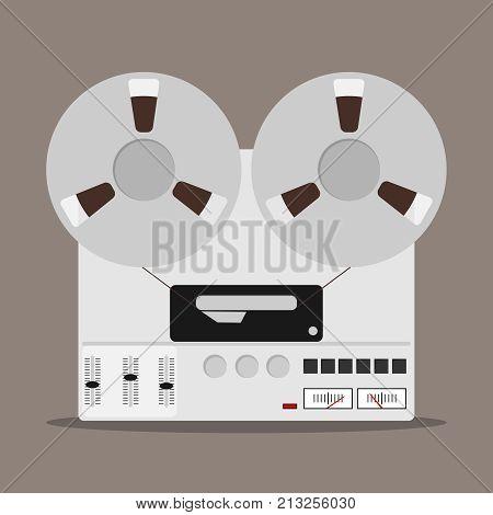Tape recorder badge of bobbin tape recorder. Flat design vector illustration vector.