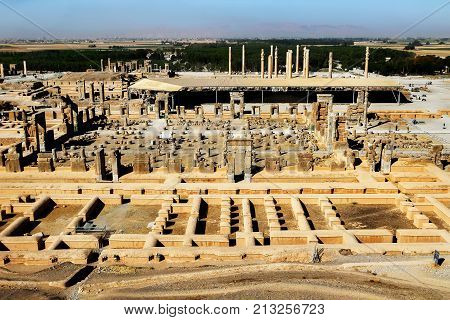 Iran. Persepolis is the capital of the ancient Achaemenid kingdom. Ancient ruins. Persia. View from above.