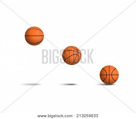 Basketball ball set. Falling basketball balls in different positions. Vector isolated realistic illustration