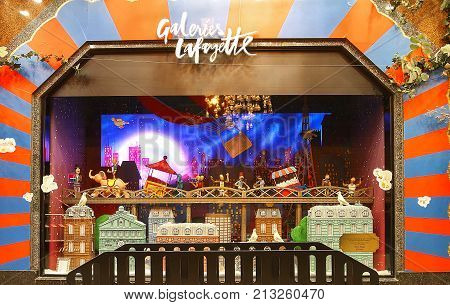 Paris, France-November 11, 2017 : The Christmas showcase in Galerie Lafayette shopping center on boulevard Haussmann in Paris, France.