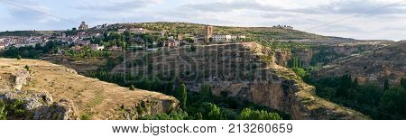 The historic town of Sepulveda (Segovia Spain) over the Duraton River Canyon