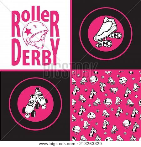 Set of drawings and seamless patterns on the theme of roller derby and roller skating with roller skates, quads, helmet on pink background